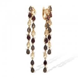 Серьги из красного золота с гранатами, раухтопазами, цитринами, фианитами