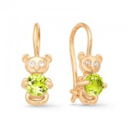Серьги детские Мишка из красного золота с фианитами, хризолитами