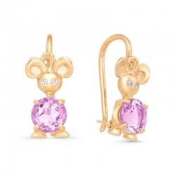Серьги детские Мышки из красного золота с фианитами, аметистами