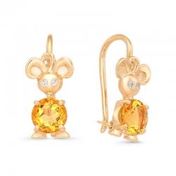 Серьги детские Мышки из красного золота с фианитами, цитринами