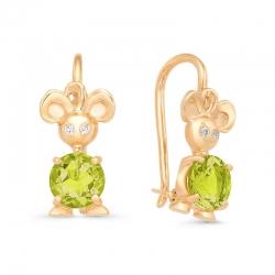Серьги детские Мышки из красного золота с хризолитами, фианитами