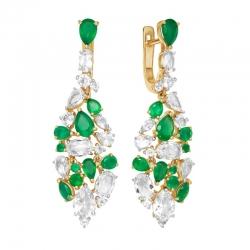 Серьги из красного золота с зелеными агатами, горными хрусталями, фианитами