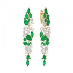 Серьги из красного золота с зелеными агатами, горным хрусталем, фианитами