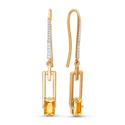 Серьги из красного золота с фианитами, цитринами