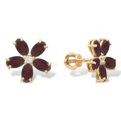Серьги-пуссеты Цветы из красного золота с гранатами, фианитами