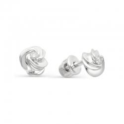 Серьги-пуссеты Розы из белого золота с бриллиантами