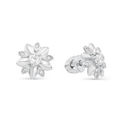 Серьги-пуссеты Цветы из белого золота с фианитами