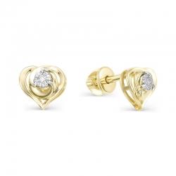 Серьги-пуссеты Сердце из желтого золота с бриллиантами