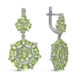 Серьги из серебра с хризолитами