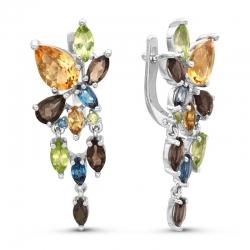 Серьги из серебра цветными камнями