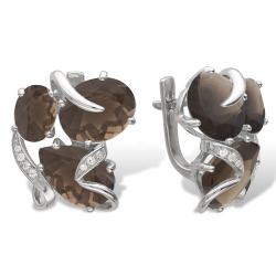 Серьги из серебра с раухтопазами, фианитами