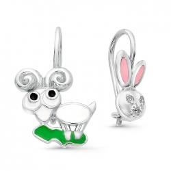 Серьги детские из серебра с фианитами