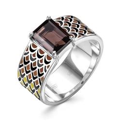 Серебряное кольцо c эмалью и раухтопазом