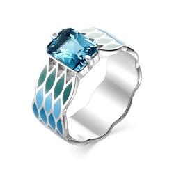 Серебряное кольцо c эмалью и ситаллом