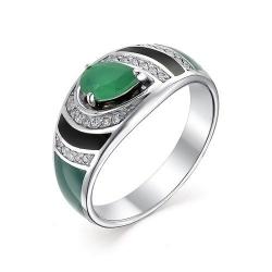 Серебряное кольцо c эмалью и агатом