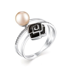 Серебряное кольцо c кремовым жемчугом и эмалью