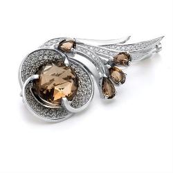 Серебряная брошка c раухтопазом
