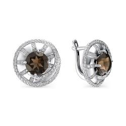 Серебряные серьги c раухтопазом