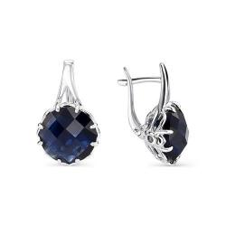 Серебряные серьги c сапфировым кристаллом