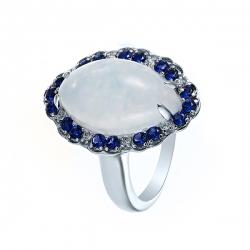 Кольцо из серебра 925 пробы с агатами и фианитами