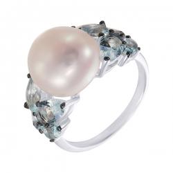 Кольцо из серебра 925 пробы с жемчугами барокко и фианитами