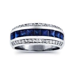 Мужское кольцо из белого золота с сапфирами и бриллиантами