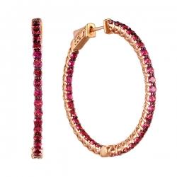 Серьги из розового золота 585 пробы с родолитом