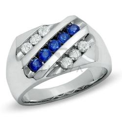 Мужское кольцо из белого золота с бриллиантом и сапфирами