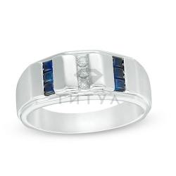 Мужское кольцо из белого золота с бриллиантом и сапфиром