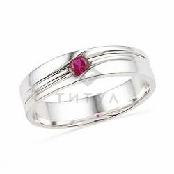 Мужское кольцо из белого золота с рубином