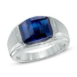 Мужское кольцо из белого золота с сапфиром