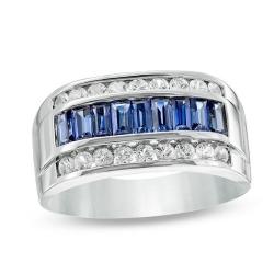 Мужское кольцо из белого золота с сапфирами