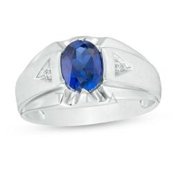 Мужское кольцо из белого золота с сапфиром и бриллиантом