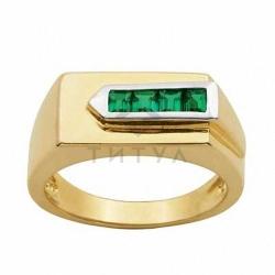 Мужское кольцо из желтого золота с изумрудом