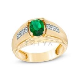Мужское кольцо из желтого золота с изумрудом и бриллиантом