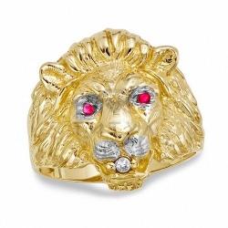 Мужское кольцо из желтого золота с рубином