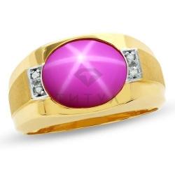 Мужское кольцо из желтого золота с рубином и бриллиантом