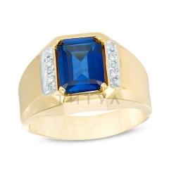 Мужское кольцо из желтого золота с сапфиром и бриллиантом
