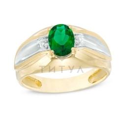 Мужское кольцо из комбинированного золота с изумрудом и бриллиантом