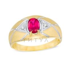 Мужское кольцо из комбинированного золота с рубином и бриллиантом