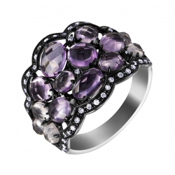 Кольцо из черного золота 585 пробы и белого золота 585 пробы с цветными полудрагоценными камнями и бриллиантами