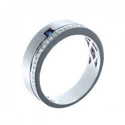 Кольцо из белого золота 500 пробы с бриллиантами и сапфиром