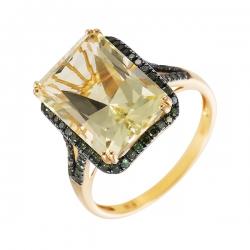 Кольцо из золота 500 пробы с кварцем и бриллиантами
