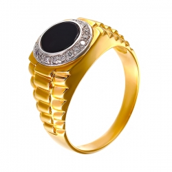 Кольцо из золота 585 пробы с ониксом и бриллиантами