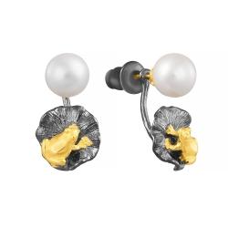 Серьги из серебра 925 пробы с культивированными жемчугами