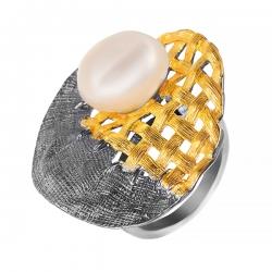 Кольцо из серебра 925 пробы с жемчугами барокко