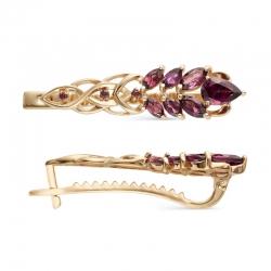 Заколка в виде пера из красного золота с родолитами