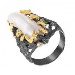 Кольцо из серебра 925 пробы с фианитами и жемчугами барокко