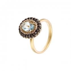 Кольцо из золота 585 пробы с аквамарином и бриллиантами